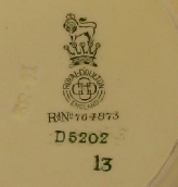 Doulton date number, pattern number and registered design no.
